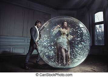 球, 陷進, 年輕, 水晶, 得到, 夫人