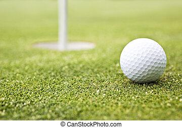 球, 高爾夫球旗, 放, 背景, 綠色