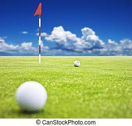球, 高爾夫球, 非常, 淺, -, 旗, 領域, 深度, 綠色的背景, 放