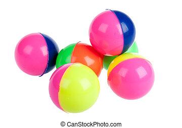 球, 鮮艷, 六, 被隔离, 橡膠, 白色