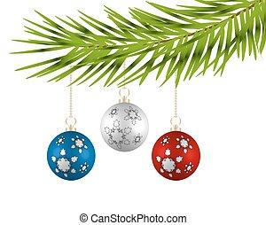 球, 鮮艷, 樹, 背景。, 白色 聖誕節