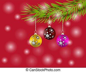 球, 鮮艷, 樹, 背景。, 聖誕節, 紅色