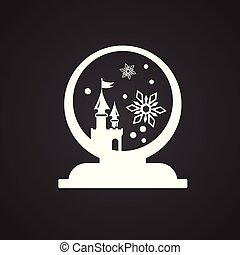 球, 黒, 雪, 背景, クリスマス
