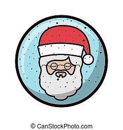 球, claus, 水晶, santa, 顔