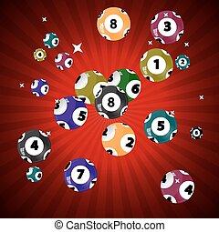 球, lottery., pot., 游戏, 矢量, 胜利, illustrat, 千斤顶
