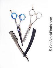 理发师, 白色, 工具, 背景