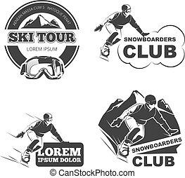 理念, 集合, 矢量, retro, 象征, 滑雪, 徽章