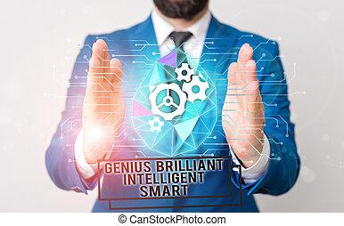 理性的, 明るい, 仕事, 利発, smart., テキスト, スーツ, 知識, 概念, ウエア, 形式的, プレゼンテーション, 執筆, 痛みなさい, マレ, 才知に長けている, 意味, 知性, 提出すること, device., 手書き, 使うこと, 人間, 天才