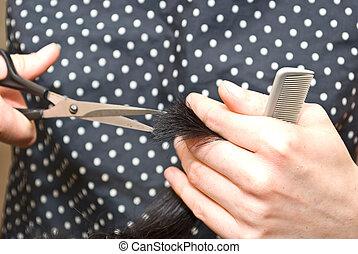 理頭髮麤毛交織物, 特寫鏡頭