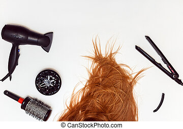 理髪師, 道具, 装置, 白, 隔離された, セット