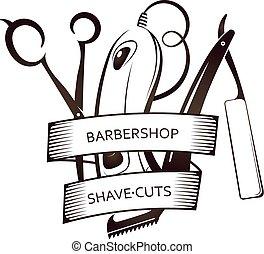 理髪店, 道具, セット, シンボル