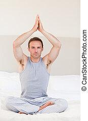 瑜伽, 他的, 实践, 人, 床