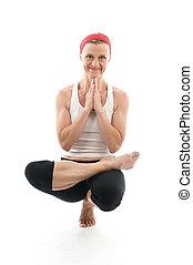 瑜伽, 坐, 樹姿態, 插圖, 健身 教練員, 老師