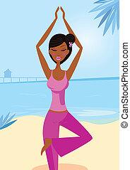 瑜伽, 婦女, 樹姿態