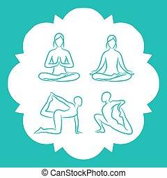 瑜伽, 手, 矢量, 畫, 線, 擺在