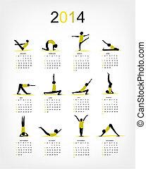 瑜伽, 日曆, 2014, 為, 你, 設計