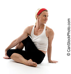 瑜伽, 脊椎, 扭, 插圖, 姿態