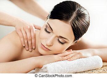 瑞典語, 傳統, 婦女, 美麗, 健康, 年輕, treatments., 療法, 礦泉, salon., 按摩