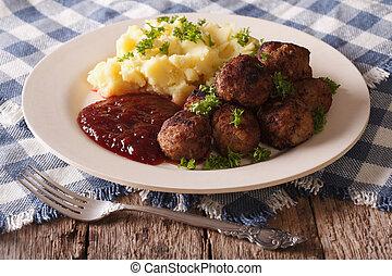瑞典語, cuisine:, lingonberry, 土豆, 肉團, 調味汁, 水平, closeup.