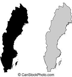 瑞典, map., 黑色和, white., mercator, projection.