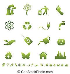 環境, そして, エコロジー, シンボル