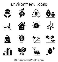 環境, &, エコロジー, セット, アイコン