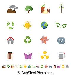 環境, エコロジー, セット, アイコン