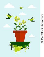 環境, エネルギー, 概念, 緑, きれいにしなさい