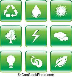 環境, セット, 緑, アイコン