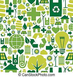 環境, パターン, 緑の背景, アイコン