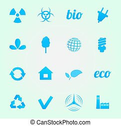 環境, ベクトル, セット, アイコン
