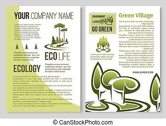 環境, ポスター, エコロジー, デザイン, 保護