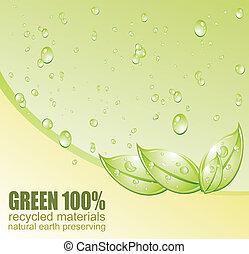 環境, リサイクルしなさい, 概念, 緑, カード