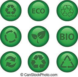 環境, リサイクルしなさい, 緑, アイコン