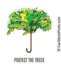 環境, 保護しなさい, 木, イラスト