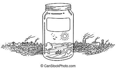環境, 充分, 罐子, 打掃