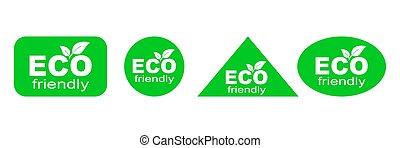 環境, 味方, 緑, セット, eco, stickers.