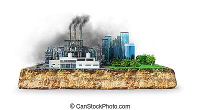 環境, 影響, concept., 3d, イラスト, 工場