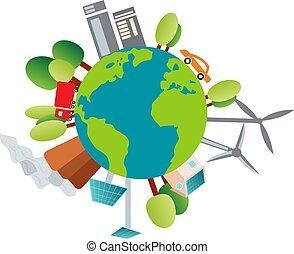 環境, 惑星, 私達の, イラスト, ∥それ∥