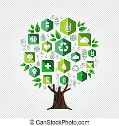 環境, 概念, エコロジー, 木, 緑