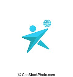 環境, 概念, シルエット, 地球, 紋章, 一緒に, 惑星, 人間, 一緒に, 人, ロゴ, を除けば, アイコン