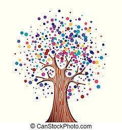 環境, 概念, 木, 助け, カラフルである