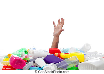 環境, 概念, 由于, 人的手, 以及, 塑料, recipients