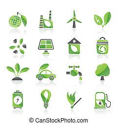 環境, 緑, エコロジー, アイコン