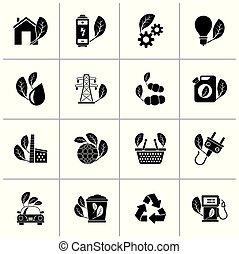 環境, 緑, エコロジー, 黒, アイコン