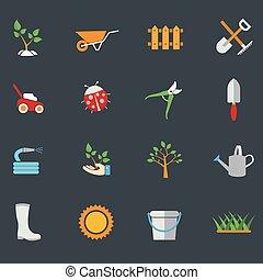 環境, activities., 園芸, set., アイコン