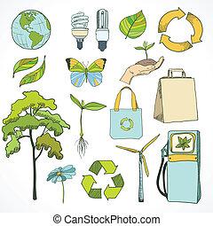 環境, doodles, エコロジー, セット, アイコン