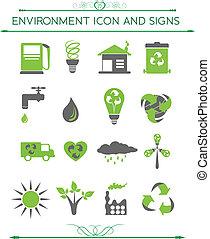 環境, eco, 関係した, シンボル