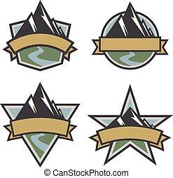 環繞, 三角形, 盾, 戶外, 被隔离, 插圖, 山, 旅行, 星, 風景, 矢量, 集合, 標識語, 形狀
