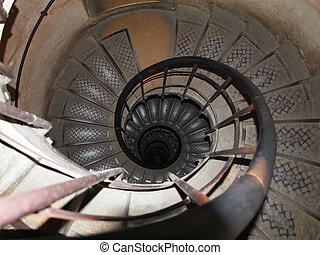 環繞, 樓梯, 在, the, 弧, du, triomphe